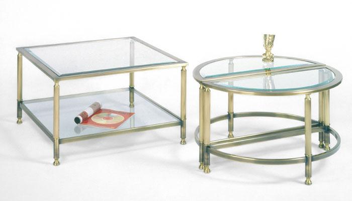 Salontafel Messing Met Glasplaat.Windsor